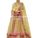 Wedding Wear Stylish Lime Yellow Color Lehenga Choli + Bottom Pant Style Anarkali Suits Dress Material 2017
