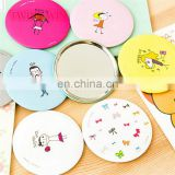 Korean 2018 New design colorful decorative Cosmetic pocket mini plastic round shaped mirror for girls