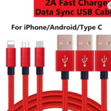Nylon Braided 2A Fast Charging USB Charger Cable for iPhone iPad iPod