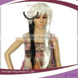 cheap long half black and half white color synthetic halloween party wig