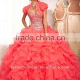 2014 Puffy Gown Ruffled Organza Beaded 3 Piece Quinceanera Dress With Jacket