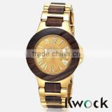 Newest Bewell Alloy metal Red Ebony Maple Wooden Date Waterproof Watch cheap Wooden Watch