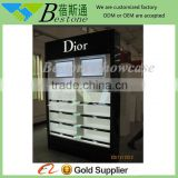 Modern cosmetic fixture with LED light, temepred glass cosmetic display cabinet for sale