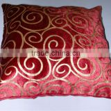 Foil printed cushion cover on velvet fabric,