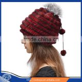 Top quality 2015 lovely real mink fur Winter crocheted grils hat with two balls