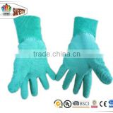 FTSAFETY Green Wrinkle latex coated on palm Jersey lining glove with knit wrist for working
