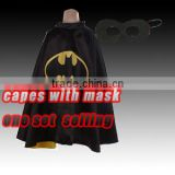 Wholesale batman sateen capes with mask ,Fashion Superhero spider girl Cape masks100% sateen with lining children costume cloak