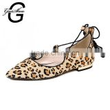 Fashion Design Leopard Print Ballet Flats Pointed Toe Lace up Knot Women's Flat Shoes Summer Sandals