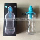 filtered plastic water bottle