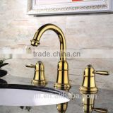 "2014 new design classic style 8"" widespread dual lever faucet gold basin mixer"