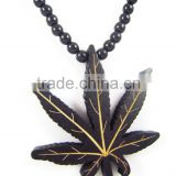 Hip Hop good leaf Pendants Men's Fashion Wood Rosary Chain Beads Necklaces