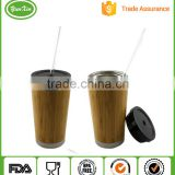 Wholesale BPA free Double Wall Stainless Steel Bamboo Auto Travel Mug with slide lock lid