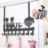 multi-function wrought iron decorative coat hooks wall mounted /fashion flower design resin wall hooks, coat hooks