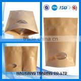 Food Grade custom stand up pouch plastic zipper bag kraft paper bags with window and zipper