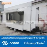 2015 HOT SALES BEST QUALITY food caravan with big wheels food caravan on wheels milkshake food caravan