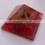 Red Orgone Energy Pyramid | Orgonite Red Onyx Pyramid ( With Crystal Point) | Pyramid Meditation