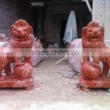 Red Antique Marble Lion Statues for Sale White Marble Stone Hand Carved Sculpture from Vietnam