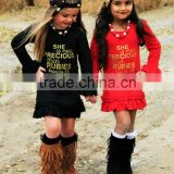 wholesale cheap long sleeve words print mermaind fall cotton baby girl dress
