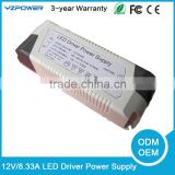 Universal 12V 8.33A LED Bulb Driver Light Power Supply Transformer Air Cooling Switching AC Adapter