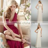 Custom Made Wholesale Cowl Draped A-line Natural Waist Chiffon Over Cashmere Lining Floor Length Bridesmaid Dress 5305