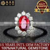 MBH jewellery newest elegant luxury precious diamond gemstone ring 18k gold inlay natural red ruby ring gold jewelry 18k