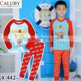 Hot Sale Boys Pajamas Cartoon Pyrography Cotton Kids Clothing Set Fashion Childrens Homewear Wholesale PJ40816-57