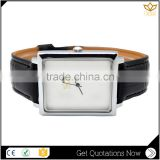Top selling time display slim stone waterproof black genuine leather quartz couple watch Y017