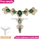 Trendy popular green crystals women and girls shoe chains shoe flowers ornament
