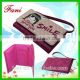 New design and new arrival cartoon smiles girl leather wallets for girls / teens with wrist strap
