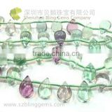 New arrival high fashon Semi precious stone natural rainbow fluorite teardrop shape beads 16""