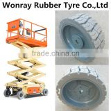 20 ft Electric Narrow Scissor Lift tire 12.5x4.25 Solid non-marking tyre for Haulotte Optimum 6