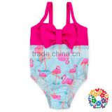 Hot Sale Soft Neoprene Girls Swimsuit Summer Fashion Cartoon One-piece Models Baby Swimwear With Bow For Wholesale