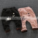 High quality corduroy korean style cat patterned boys pant fashion thickening and velvet leisure pants