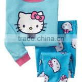 baby girls sky blue hello kitty cartoon pattern cotton pyjamas suits kids sleepwears children's nightgown