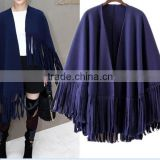 newest trendy women bohemian poncho shawl suede fringe leather shawl