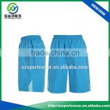 Hot Sale Light Blue 95%Polyester 5%Spandex Jersey Basketball Short With White Trim