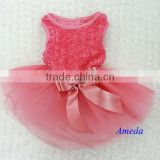 Coral Pink Rosettes Elegant Rose Wedding Tutu Small Dog Clothes Party Dress XS-L