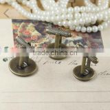 12-20mm Antique Bronze Plated Threaded Rod Blank Cufflink Base For Glass Cabochon