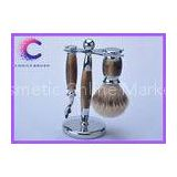 Travel shaving set faux horn color handle silvertip badger shaving brush set  with razor