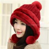 Women Winter Knitted Warm Beanies Patchwork With Faux Rabbit Fur Women Caps