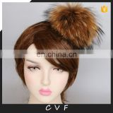 Natural color jumbo raccoon fur pompom accessory hairband hair hoop