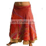 latest style silk skirt vintage sari silk wrap skirt