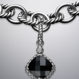 DY Designs Inspired Sterling Silver 11mm Black Onyx Cushion on Point Charm