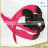 Two color virgin brazilian hair extension silk straight 27/613 pink color ombre hair extension