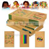 Innovative eco friendly kids drawing set including coloring books and pencil crayons