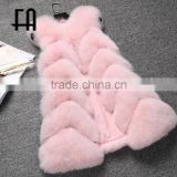 Factory direct fashion lady's baby pink fox fur vest long fox fur vest