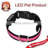 2014 Adjustable Flashing Nylon Pet Dog Safety Collar with LED Lights Pink S Small Size (S)