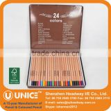 24pcs Round Natural Wood Coloured Pencil Fine Art Set; Natural Wood Pencil 24colours in Metal Case                                                                         Quality Choice