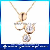 Wholesale Austrian four circle zircon necklace jewelry CZ diamond pendant necklace N0015