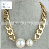 gold cuban chain pearl Bubble Necklace